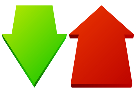 arow: Set of 3d up down arrows in perspective. Green, red arrows.