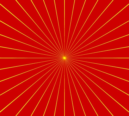 Circular radial, radiating lines element. Abstract rays, beams, flash comic effect in red, yellow Illustration
