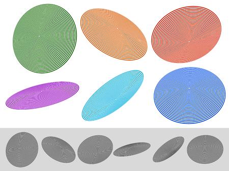 radiating: Concentric circle elements. Radiating, radial circles. Illustration