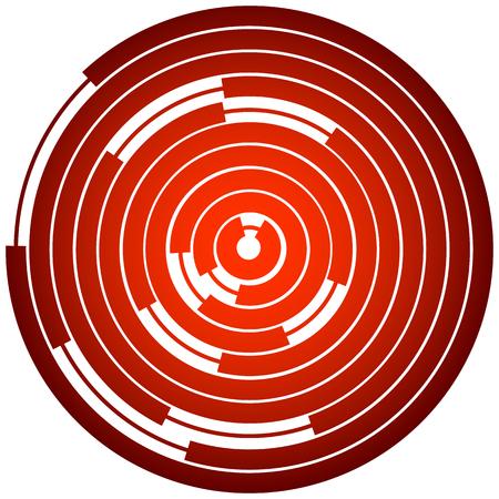 Random segmented circles  rings. Radial, radiating circular element Illustration