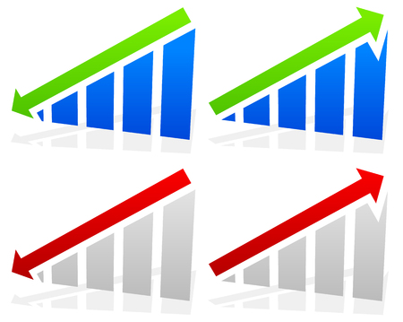 Barchart with arrows. Up down arrows on chart. 2 colors.