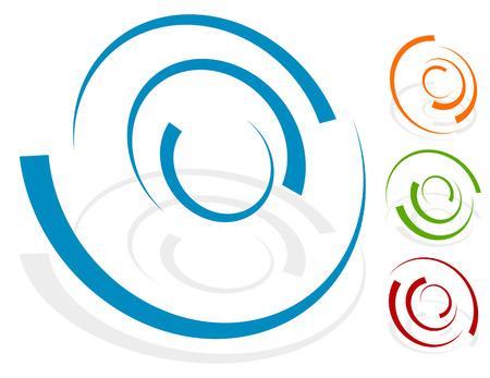 Circular design element, shape (4 different version with 4 colors. Transparent shadows.)