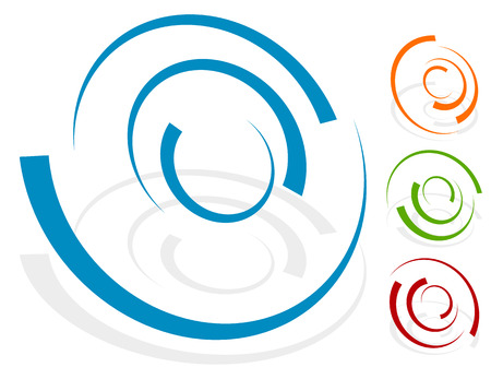 distortion: Circular design element, shape (4 different version with 4 colors. Transparent shadows.)