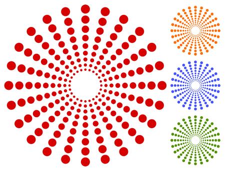 Dots, circles circular motif, element. Radiating, radial dots.