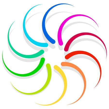 Colorful spirally design element, abstract geometric motif, symbol, Vektoros illusztráció