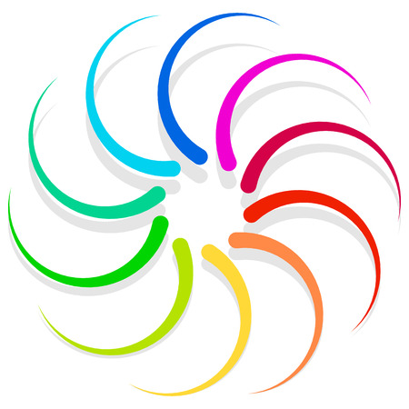 volute: Colorful spirally design element, abstract geometric motif, symbol, Illustration