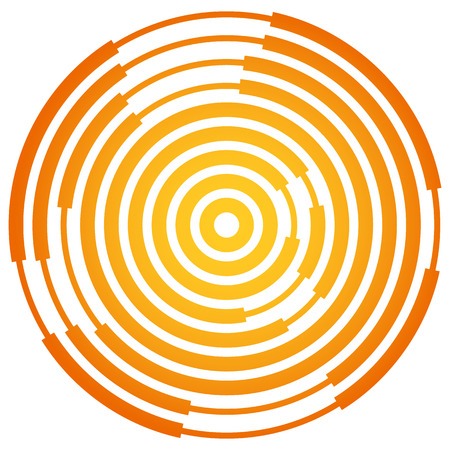 epicenter: Random segmented circles  rings. Radial, radiating circular element Illustration