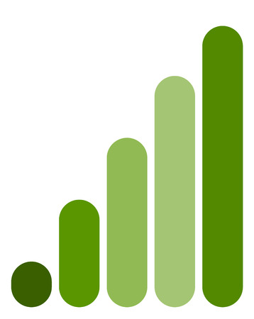 Bar chart  bar graph symbol. Rounded rectangle chart Illustration