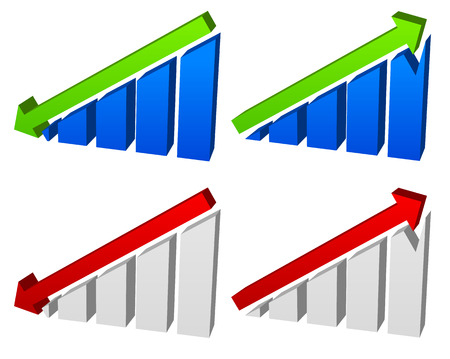 up and down: Barchart with arrows. Up down arrows on chart. 2 colors.