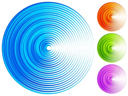 vibrant: Colorful concentric circle elements. 4 bright, vivid, vibrant colors Illustration