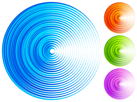 Colorful concentric circle elements. 4 bright, vivid, vibrant colors Illustration