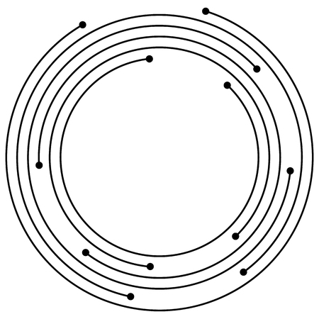 circling: Random concentric circles with dots. Circular, spiral design element.