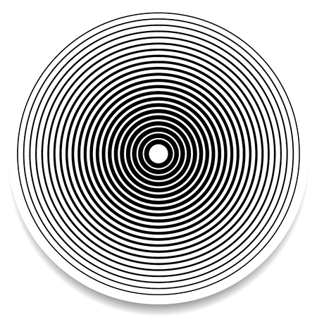 epicentre: Concentric circles, rings abstract geometric element. Ripple, impact effect