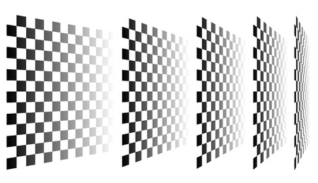 tilting: Set of chess, checkered boards in perspective Illustration