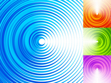 radiating: Colorful concentric circle elements. 4 bright, vivid, vibrant colors Illustration