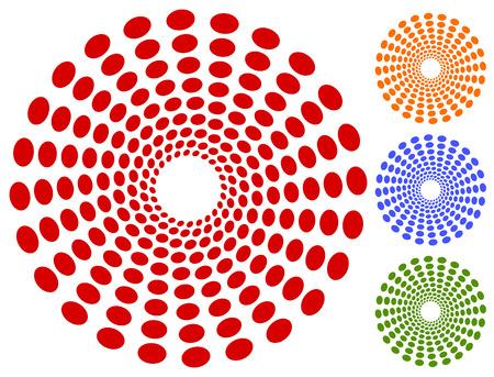 radiating: Dots, circles circular motif, element. Radiating, radial dots.