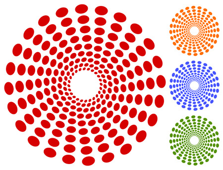 converging: Dots, circles circular motif, element. Radiating, radial dots.