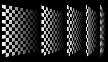 Set of chess, checkered boards in perspective Illustration
