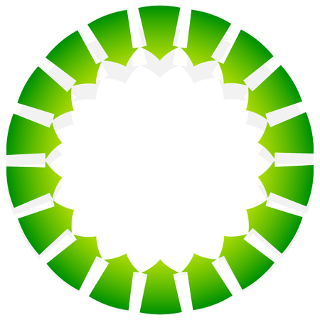 Rotating green arrows point inwards  inside. Abstract shape with green arrows