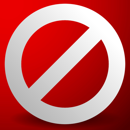 termination: Red prohibition, restriction sign - Rejection, closed, no entrance, stop sign, icon