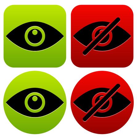 눈 기호는 표시, 숨기기, 표시, 숨김, 공개, 비공개 아이콘으로 표시됩니다.