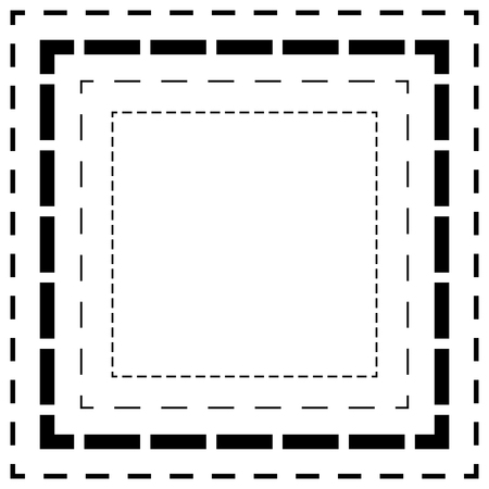 cutout: Dashed line squares. Thin and thick lines. Cut lines, square cutout forms