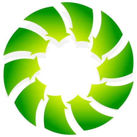 converging: Rotating green arrows point inwards  inside. Abstract shape with green arrows