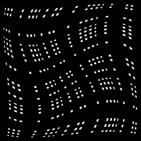 distorted: Grid, mesh of distorted lines. Geometric monochrome texture.