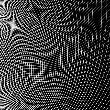 reticulation: Grid - mesh of dynamic curved lines. Abstract geometric pattern. Monochrome texture.
