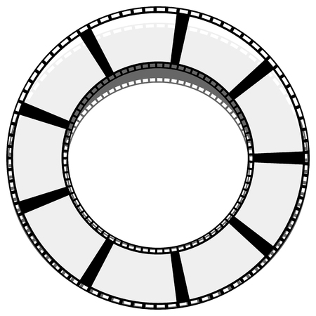 perforation tape: Circle filmstrip isolated with shadow for photography, multimedia concepts