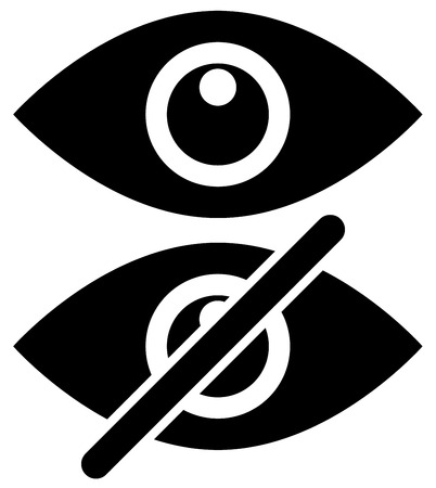 hide: Eye symbols as show, hide, visible, invisible, public, private icons.