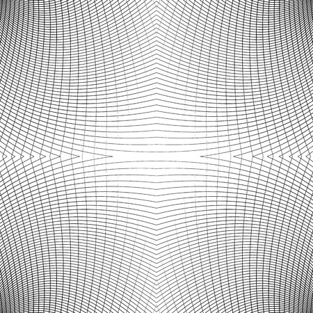 Grid of distorted dynamic lines. Repeatable. Curved lines geometric monochrome mesh. Reticulate, cellular seamless pattern Illustration