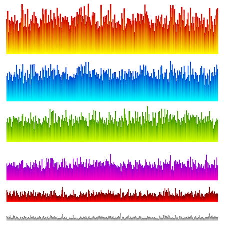 playback: Eq, equalizer lines with 5 vibrant colors  6 versions. Illustration