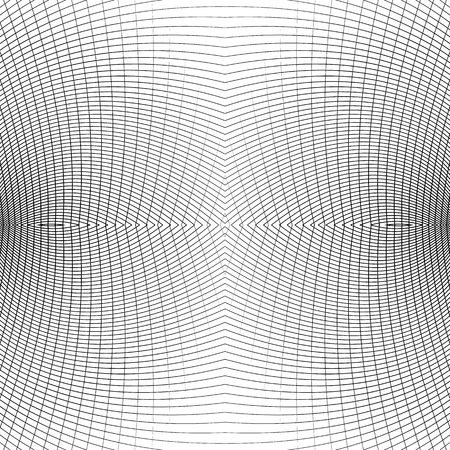 distorted: Grid of distorted dynamic lines. Repeatable. Curved lines geometric monochrome mesh. Reticulate, cellular seamless pattern Illustration