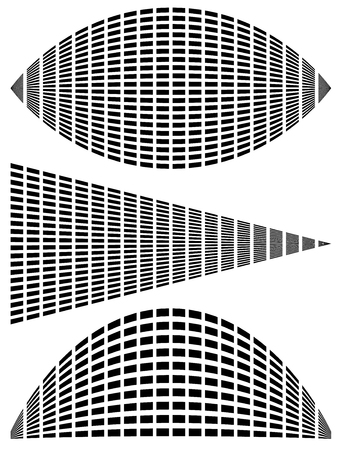 sonic: Eq - equalizer templates for music, audio related design. Grid of rectangles with distortions generic elements Illustration