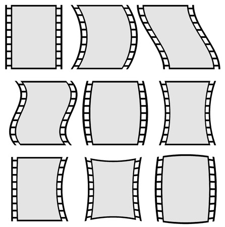 perforated sheet: Film strip illustration for photography concepts. Set of several elements.