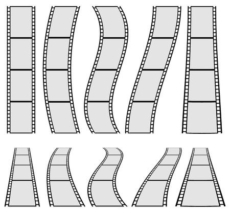 perforation tape: Film strip illustration for photography concepts. Set of several elements.