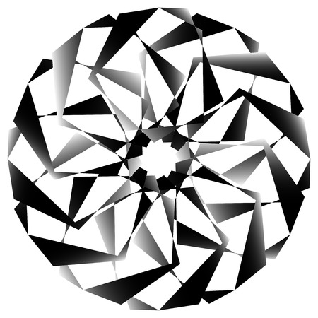 Radial, spirally geometric decorative element - Abstract monochrome shape.