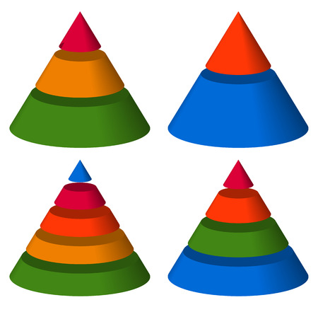 Pyramid, cone charts. 3-2-5-4 levels. Multilevel triangle 3d graphs