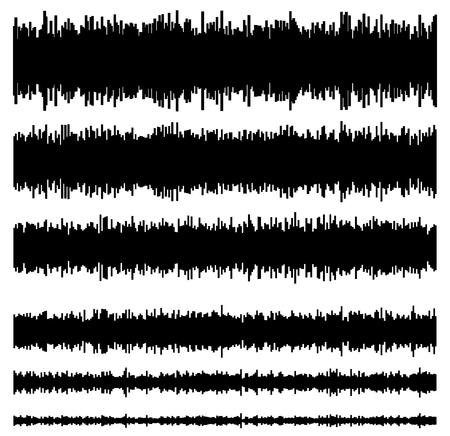 soundtrack: Eq  equalizer element templates. Set of 6 version. Music, sound effect, soundtrack, multimedia concepts. Illustration