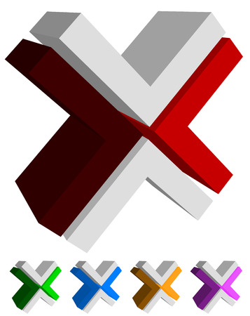 X, cross icon, , shape design element in several colors