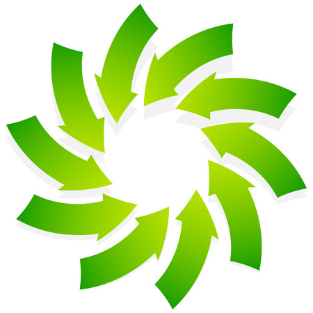 inwards: Rotating green arrows point inwards  inside. Abstract shape with green arrows