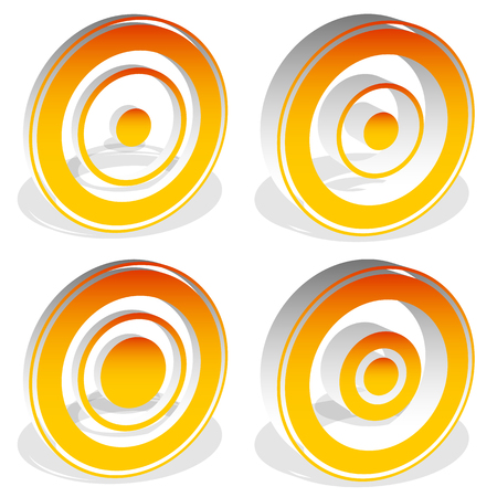 Concentric circles, bullseye, cross-hair, reticle, target mark icons (more versions)
