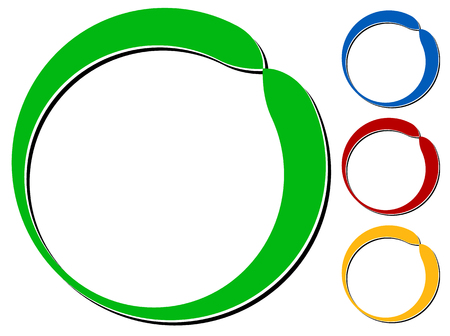 knockout: Circle design element with knockout shadow in 4 colors