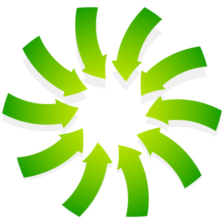 green arrows: Rotating green arrows point inwards  inside. Abstract shape with green arrows