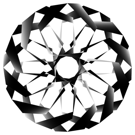 radiating: Radial, spirally geometric decorative element - Abstract monochrome shape.