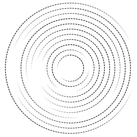 dashed: Concentric circles with dashed lines. Circular spiral element