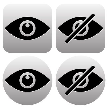visible: Eye symbols as show, hide, visible, invisible, public, private icons.