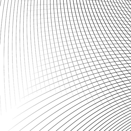 camber: Grid - mesh of dynamic curved lines. Abstract geometric pattern. Monochrome texture.