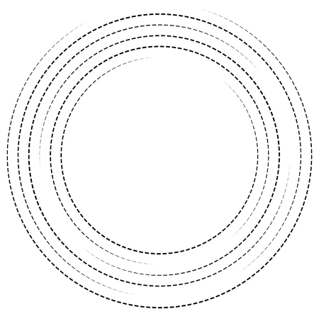 asymmetry: Concentric circles with dashed lines. Circular spiral element